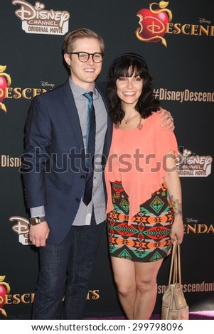 "LOS ANGELES - JUL 24:  Lucas Grabeel, Emily Morris at the ""Descendants"" Premiere Screening at the Walt Disney Studios on July 24, 2015 in Burbank, CA - stock photo"
