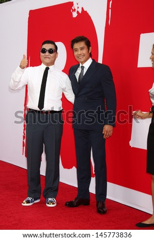 "LOS ANGELES - JUL 11:  Psy, Byung-hun Lee arrives at the ""Red 2"" Premiere at the Village Theater on July 11, 2013 in Westwood, CA - stock photo"