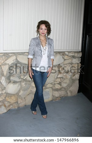 LOS ANGELES - JUL 27:  Rebecca Herbst arrives at the 2013 General Hospital Fan Club Luncheon  at the Sportsman's Lodge on July 27, 2013 in Studio City, CA - stock photo