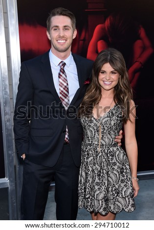 """LOS ANGELES - JUL 07:  Ryan Shoos & Pfeifer Brown arrives to the """"The Gallows"""" Los Angeles Premiere  on July 07, 2015 in Hollywood, CA                 - stock photo"""