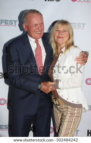 "LOS ANGELES - JUL 11:  Tab Hunter, Candy Clark at the ""Tab Hunter Confidential"" at Outfest at the Directors Guild of America on July 11, 2015 in Los Angeles, CA - stock photo"