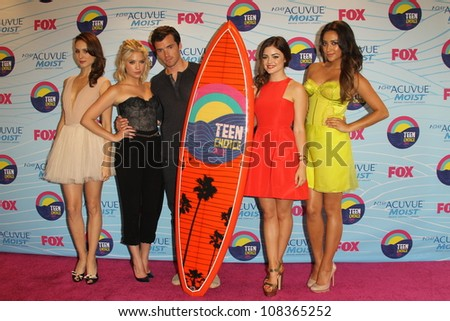 LOS ANGELES - JUL 22: Troian Bellisario, Ashley Benson, Ian Harding, Lucy Hale, Shay Mitchell in the Press Room of the 2012 Teen Choice Awards at Gibson Ampitheatre on July 22, 2012 in Los Angeles, CA - stock photo