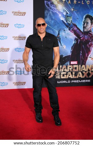 "LOS ANGELES - JUL 21:  Vin Diesel at the ""Guardians Of The Galaxy"" Premiere at the Dolby Theater on July 21, 2014 in Los Angeles, CA"