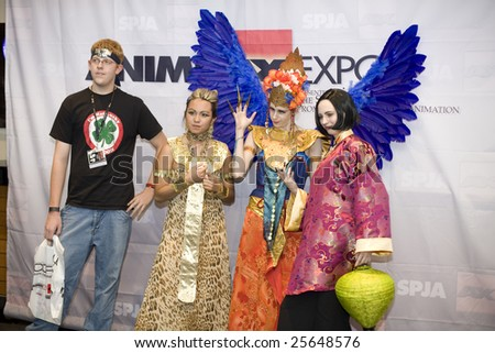 LOS ANGELES - JULY 5: Anime fans in costume at an Anime Expo press event July 5th, 2008 in Los Angeles. A/X is the US's largest Japanese animation fan convention.