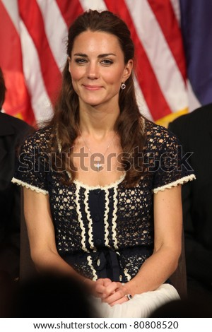 "LOS ANGELES - JULY 10:  Catherine, Duchess of Cambridge  The Duke And Duchess Of Cambridge attend The Mission Serve ""Hiring Our Heroes"" Job Fair at Sony Pictures on July 10, 2011 in Culver City, CA - stock photo"