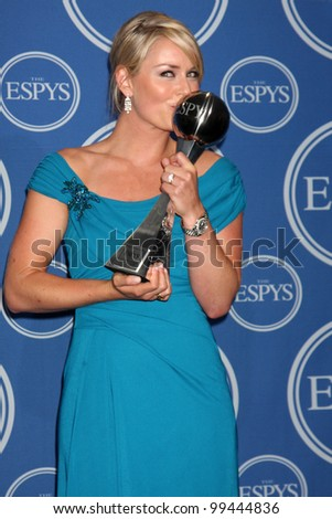 LOS ANGELES - JULY 14:  Lindsey Vonn  in the Press Room of the 2010 ESPY Awards at Nokia Theater - LA Live on JulyM14, 2010 in Los Angeles, CA - stock photo
