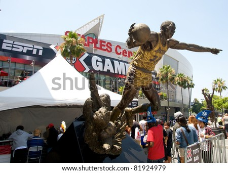 LOS ANGELES - JULY 29: Panoramic of the the Staples Center with Magic Johnson's statue during the extreme sports ESPN X Games Seventeen in Los Angeles on July 29, 2011 in Los Angeles California.