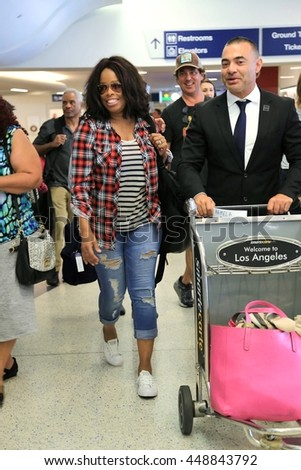 LOS ANGELES - JULY 6, 2016: Sportsreporter/broadcaster  Pam Oliver spotted at LAX arriving to Los Angeles probably for the ESPY's in downtown LA July 6, 2016. - stock photo