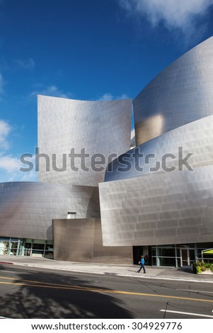 LOS ANGELES - JULY 26: Walt Disney Concert Hall in Los Angeles, CA on July 26, 2015. The hall was designed by Frank Gehry and is a major component in the Los Angeles Music Center complex.