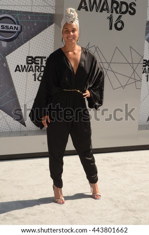 LOS ANGELES - JUN 26:  Alicia Keys at the BET Awards Arrivals at the Microsoft Theater on June 26, 2016 in Los Angeles, CA - stock photo