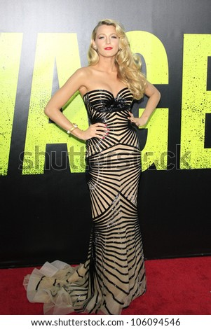 LOS ANGELES - JUN 25: Blake Lively at the premiere of Universal Pictures' 'Savages' at Westwood Village on June 25, 2012 in Los Angeles, California - stock photo