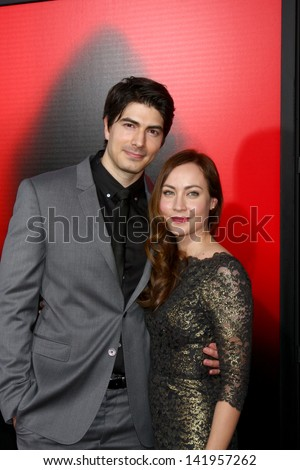 "LOS ANGELES - JUN 11:  Brandon Routh, Courtney Ford arrive at the  ""True Blood"" Season 6 Premiere Screening at the ArcLight Hollywood Theaters on June 11, 2013 in Los Angeles, CA - stock photo"