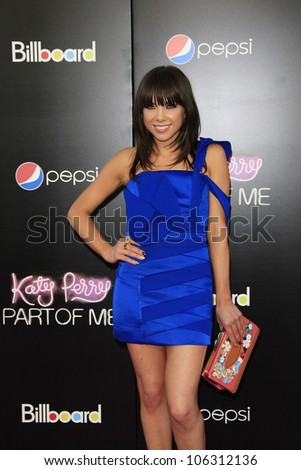 LOS ANGELES - JUN 26: Carly Rae Jepsen at the premiere of Paramount Insurge's 'Katy Perry: Part Of Me' held on June 26, 2012 in Hollywood, Los Angeles, California - stock photo