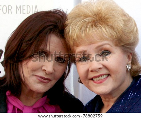 LOS ANGELES - JUN 7:  Carrie Fisher, Debbie Reynolds arrive at the Debbie Reynolds Hollywood Memorabilia Collection Auction Preview at Paley Center For Media on June 7, 2011 in Beverly Hills, CA - stock photo
