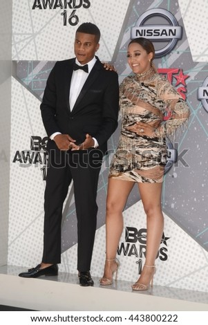 LOS ANGELES - JUN 26:  Cory Hardrict, Tia Mowry-Hardrict at the BET Awards Arrivals at the Microsoft Theater on June 26, 2016 in Los Angeles, CA - stock photo