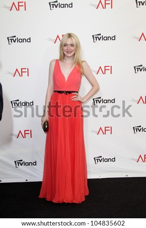 LOS ANGELES - JUN 7:  Dakota Fanning arriving at the AFI Life Achievement Award Honoring Shirley MacLaine at Sony Pictures Studios on June 7, 2012 in Culver City, CA - stock photo
