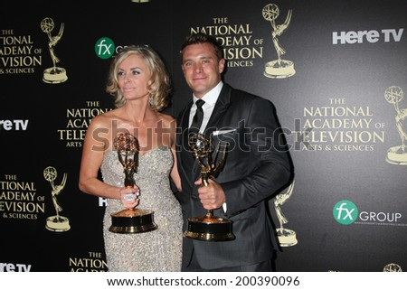 LOS ANGELES - JUN 22:  Eileen Davidson, Billy Miller at the 2014 Daytime Emmy Awards Press Room at the Beverly Hilton Hotel on June 22, 2014 in Beverly Hills, CA - stock photo