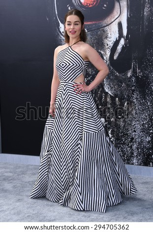"LOS ANGELES - JUN 28:  Emilia Clarke arrives to the ""Terminator Genisys"" Los Angeles Premiere  on June 28, 2015 in Hollywood, CA                 - stock photo"