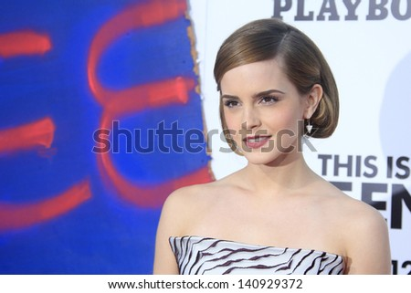 LOS ANGELES - JUN 3: Emma Watson at the premiere of Columbia Pictures' 'This Is The End' at the Regency Village Theater on June 3, 2013 in Westwood, Los Angeles, California - stock photo
