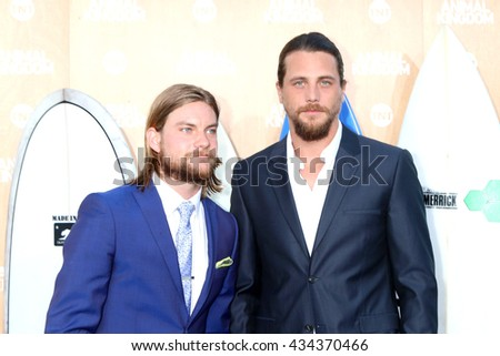 LOS ANGELES - JUN 8:  Jake Weary, Ben Robson at the Animal Kingdom Premiere Screening at the The Rose Room on June 8, 2016 in Venice Beach, CA - stock photo