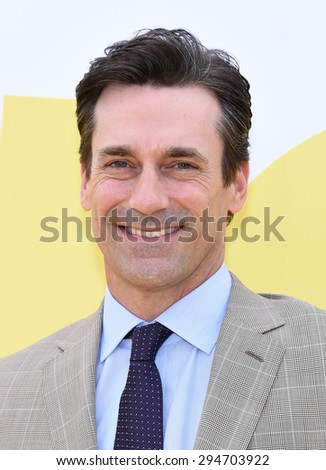 "LOS ANGELES - JUN 27:  Jon Hamm arrives to the ""Minions"" Los Angeles Premiere  on June 27, 2015 in Hollywood, CA                 - stock photo"