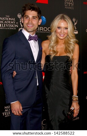LOS ANGELES - JUN 16:  Justin Gatson, Melissa Ordway arrives at the 40th Daytime Emmy Awards at the Skirball Cultural Center on June 16, 2013 in Los Angeles, CA