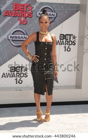 LOS ANGELES - JUN 26:  Karrueche Tran at the BET Awards Arrivals at the Microsoft Theater on June 26, 2016 in Los Angeles, CA - stock photo