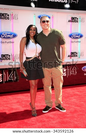 LOS ANGELES - JUN 29:  Kenya Duke, Gary Owen at the 2014 BET Awards - Arrivals at the Nokia Theater at LA Live on June 29, 2014 in Los Angeles, CA - stock photo