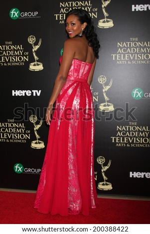 LOS ANGELES - JUN 22:  Mishael Morgan at the 2014 Daytime Emmy Awards Arrivals at the Beverly Hilton Hotel on June 22, 2014 in Beverly Hills, CA - stock photo