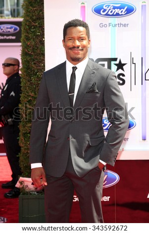 LOS ANGELES - JUN 29:  Nate Parker at the 2014 BET Awards - Arrivals at the Nokia Theater at LA Live on June 29, 2014 in Los Angeles, CA - stock photo