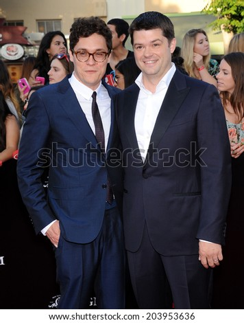 "LOS ANGELES - JUN 09:  Phil Lord & Chris Miller arrives to the ""22 Jump Street"" World Premiere  on June 09, 2014 in North Hollywood, CA                 - stock photo"
