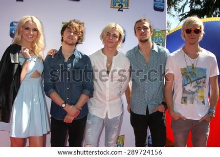 "LOS ANGELES - JUN 22:  R5, Rydel Lynch, Ellington Ratliff, Ross Lynch, Rocky Lynch, Riker Lynch at the ""Teen Beach 2"" Premiere  at the Walt Disney Studios on June 22, 2015 in Burbank, CA - stock photo"