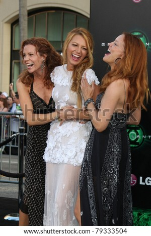 LOS ANGELES - JUN 15:  Robyn Lively, Blake Lively, Lori Lively arriving at the Green Lantern Premiere at Grauman's Chinese Theater on June 15, 2011 in Los Angeles, CA - stock photo