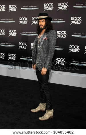 """LOS ANGELES - JUN 8:  Russell Brand arriving at """"Rock of Ages"""" World Premiere at Graumans Chinese Theater on June 8, 2012 in Los Angeles, CA - stock photo"""