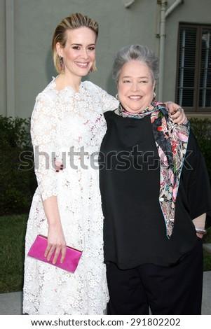 "LOS ANGELES - JUN 11:  Sarah Paulson, Kathy Bates at the ""American Horror Story: Freak Show"" Screening at the Paramount Theater on June 11, 2015 in Los Angeles, CA - stock photo"