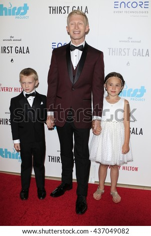 LOS ANGELES - JUN 13:  Seth Maxwell, his brother Scott, his sister at the 7th Annual Thirst Gala at the Beverly Hilton Hotel on June 13, 2016 in Beverly Hills, CA - stock photo