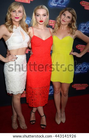 LOS ANGELES - JUN 23:  Shelby Welfert, Dove Cameron, Emmy Buckner at the 100th DCOM Adventures In Babysitting Premiere Screening at the Directors Guild of America on June 23, 2016 in Los Angeles, CA - stock photo