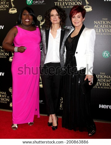 LOS ANGELES - JUN 22:  Sheryl Underwood, Sara Gilbert, Sharon Osbourne at the 2014 Daytime Emmy Awards Arrivals at the Beverly Hilton Hotel on June 22, 2014 in Beverly Hills, CA - stock photo