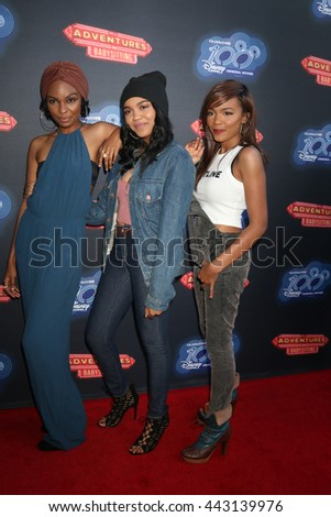 LOS ANGELES - JUN 23:  Sierra Aylina McClain, China Anne McClain, Lauryn Alisa McClain at the Adventures In Babysitting Premiere at the Directors Guild of America on June 23, 2016 in Los Angeles, CA - stock photo
