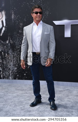 "LOS ANGELES - JUN 28:  Sylvester Stallone arrives to the ""Terminator Genisys"" Los Angeles Premiere  on June 28, 2015 in Hollywood, CA                 - stock photo"