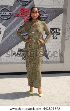 LOS ANGELES - JUN 26:  Tracee Ellis Ross at the BET Awards Arrivals at the Microsoft Theater on June 26, 2016 in Los Angeles, CA - stock photo