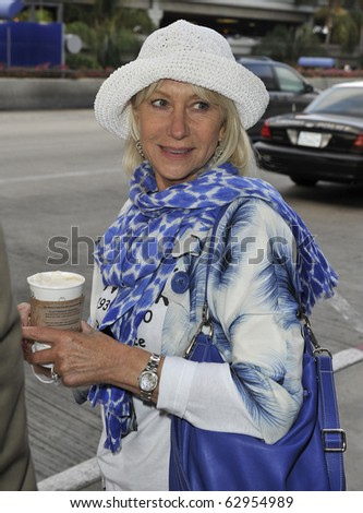 LOS ANGELES-JUNE 22: Actress Dame Helen Mirren is seen at LAX. June 22nd, 2010 in Los Angeles, California