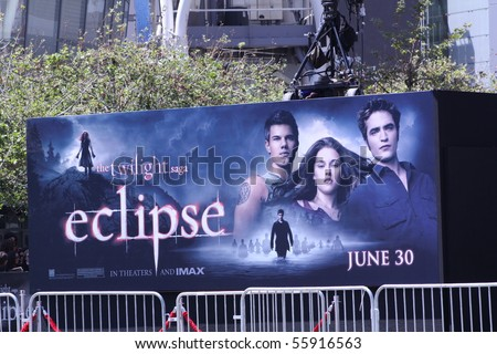 LOS ANGELES - JUNE 24: Billboard at the premiere of the movie Twilight Saga: Eclipse outside the Nokia Theater June 24, 2010 in Los Angeles, California. - stock photo