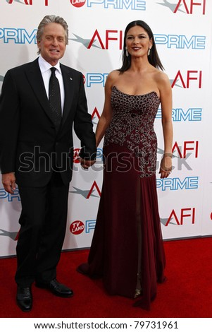 LOS ANGELES - JUNE 11: Catherine Zeta Jones; husband Michael Douglas at the AFI Life Achievement Award: A Tribute to Michael Douglas at Sony Studios in Culver City, Los Angeles, CA on June 11, 2009. - stock photo