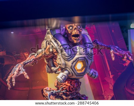 LOS ANGELES - June 17: Doom video game character sculpture at E3 2015 expo. Electronic Entertainment Expo, commonly known as E3, is an annual trade fair for the video game industry - stock photo