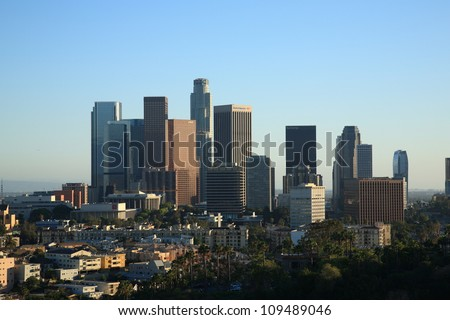 LOS ANGELES - JUNE 30, 2012. Downtown city skyline on June 30, 2012 in Los Angeles, California. With a population of 3,792,621 in 2010, the city ranks 2nd in the U.S. and 48th in the world. - stock photo