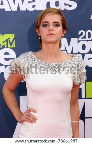LOS ANGELES - JUNE 5: Emma Watson arrives at the the 2011 MTV Movie Awards at Gibson Ampitheatre on June 5, 2011 in Los Angeles, CA - stock photo