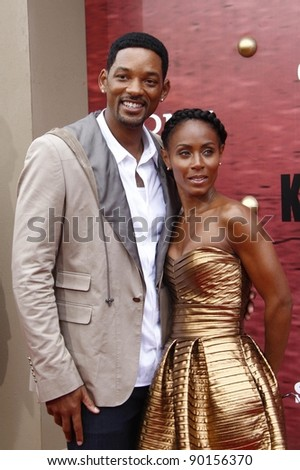 LOS ANGELES - JUNE 7: Jada Pinkett Smith and Will Smith at the premiere of 'The Karate Kid' at the Mann Village Theater on June 7, 2010 in Los Angeles, California - stock photo