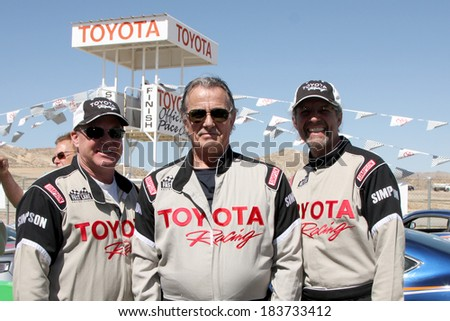 LOS ANGELES - MAR 15:  Al Unser Jr, Eric Braeden, Kyle Petty at the Toyota Grand Prix of LB Pro-Celebrity Race Training at Willow Springs Speedway on March 15, 2014 in Rosamond, CA - stock photo
