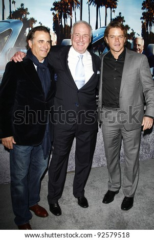 LOS ANGELES - MAR 22:  Andy Garcia, Jerry Weintraub, Matt Damon arriving at the Los Angeles HBO Premiere of 'His Way' at Paramount Studios in Los Angeles, California on March 22, 2011.
